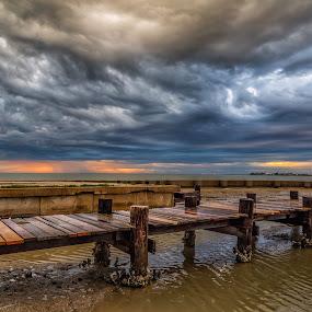 Stormy Sunrise by John Chitty - Landscapes Sunsets & Sunrises ( corpus christi, texas, storms, sunrise, copano bay )