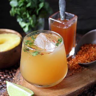 Spicy Roasted Pineapple Cilantro Cocktail.