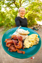 Photo: Eggs and bacon. Whitewater rafting on the Yampa River which flows through Dinosaur National Monument in northeastern Utah.