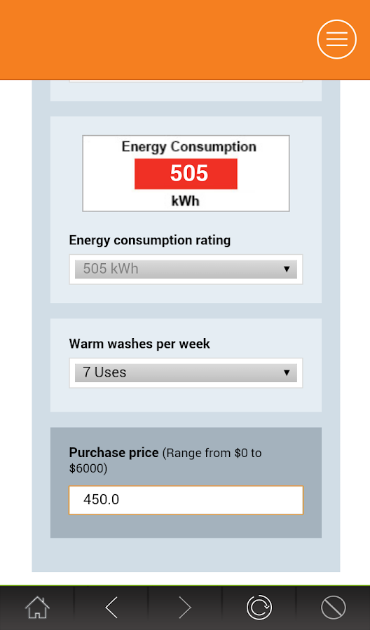 Energy Rating Calculator- screenshot
