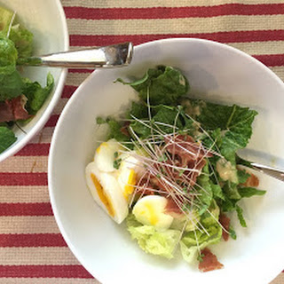 Romaine Salad with Prosciutto Crisps and Soft Boiled Eggs