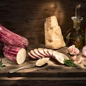 parmesan eggplants by Giorgio Baruffi - Food & Drink Ingredients ( eggplants, melanzane, light painting, italian food, typical dish, parmigiana, parmesan )