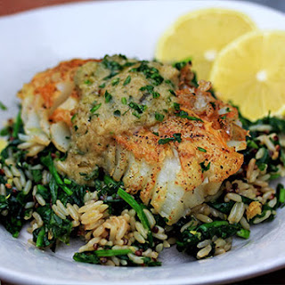 Seared Skinless Cod with Beer & Sweet Onion Butter Sauce.
