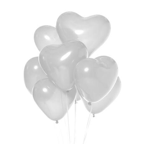 Ballonger, hjärta vit 6 st