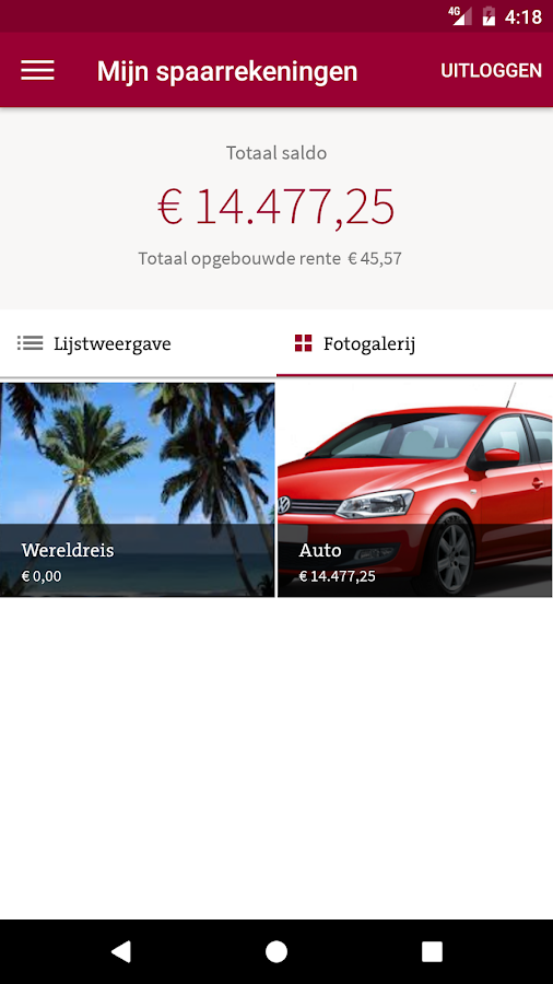 MoneYou Sparen App smartphone- screenshot