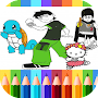 Cartoon coloring book : finger painting APK icon