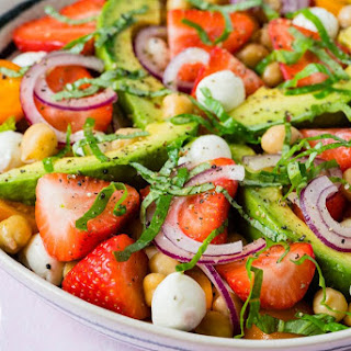 Strawberry + Avocado + Chickpea Caprese Salad Recipe