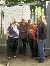 Photo: Kim Ritzheimer, Marla Downer, Gina Fossler, and Sandy Gallo at Teufelsberg tour sign