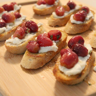 Roasted Grape and Ricotta Crostini