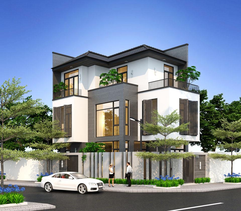 Mặt tiền ngôi nhà được thiết kế làm nổi bật các hình khối