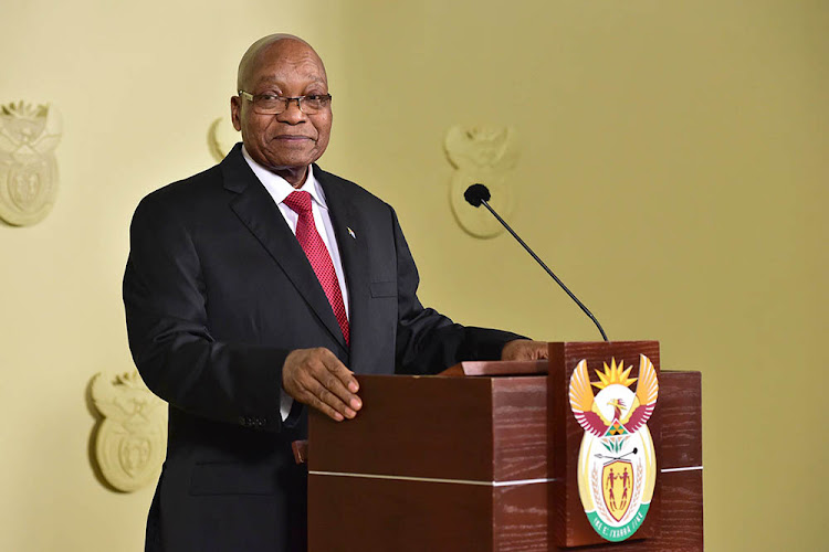 Jacob Zuma pauses during his televised address on Wednesday when he resigned as head of state.