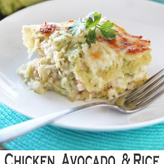 Chicken, Avocado, and Rice Enchilada Casserole