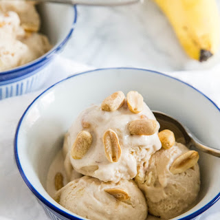 Peanut Butter Ice Cream with Banana Chunks.