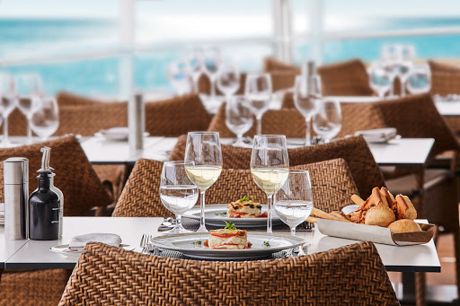 Enjoy a light lunch with fine wine at the Grill on Silver Muse.