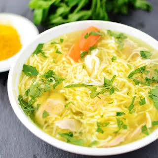 Chicken And Vegetable Soup With Vermicelli.