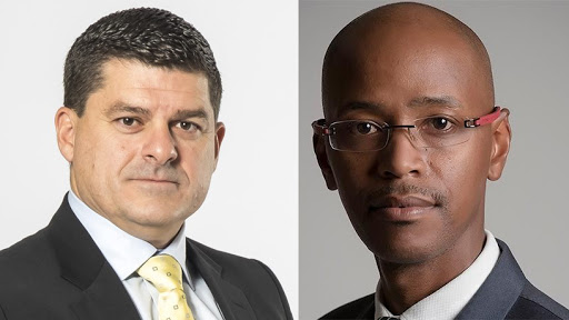 Huge Group CEO James Herbst and Adapt IT CEO Sbu Tshabalala.