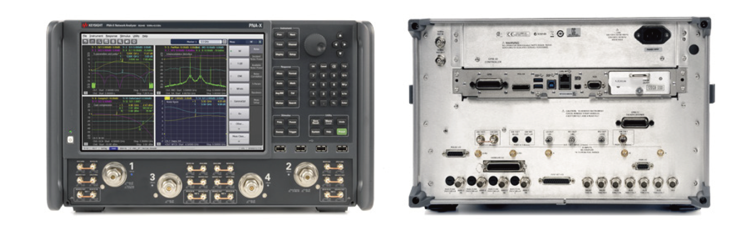 Figure 2. Front and back panels of the N5244B PNA-X network analyzer