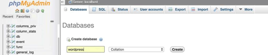 página databases do phpmyadmin