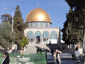 Photo: The Dome of the Rock, a building that stands out all over Jerusalem.  It was built in the late 7th century AD. The rock inside is said to be the site where Abraham was asked to sacrifice his son, where Muhammad is said to have been carried one night from Mecca to this site in Jerusalem ascending to God and then returning to Mecca in the morning.  This is the third holiest site of Islam after Mecca and Medina.
