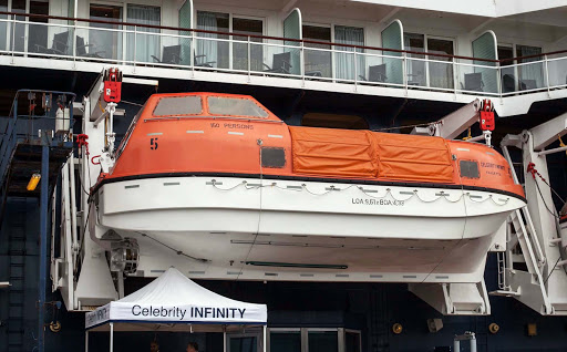 tender-on-Celebrity-Infinity - A tender, which ferries passengers to shore, on Celebrity Infinity.