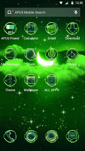 Green Moon-APUS Launcher free theme - screenshot
