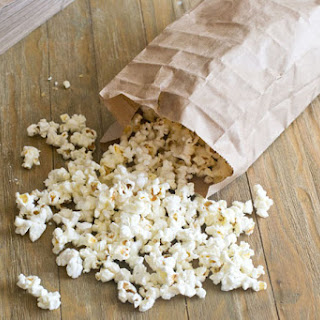 Healthy Microwave Popcorn with Nutritional Yeast.