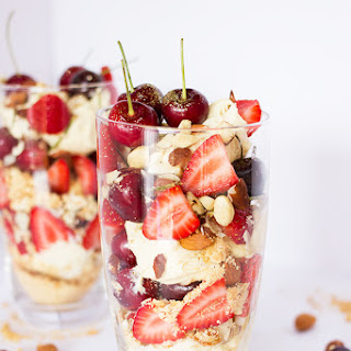 Mascarpone, Nut and Berry Layered Dessert.