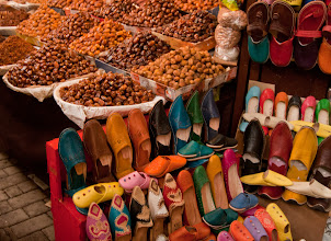 Photo: Fez markets, so many leather slippers