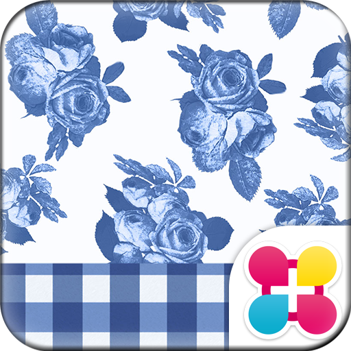 CuteTheme-BlueGingham and Rose Icon