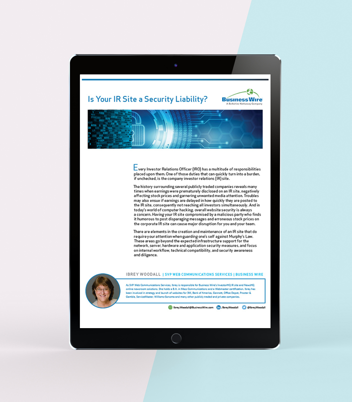 IR White Paper Download from Business Wire