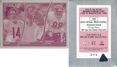 Photo: Brian Griese 2007 Topps Total Printing Plates Magenta (#196) (with Mark Bradley and Desmond Clark) (1/1)