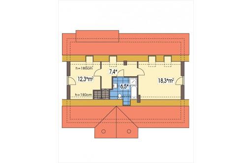 Gienia II Klasyk wersja A bez garażu - Rzut poddasza