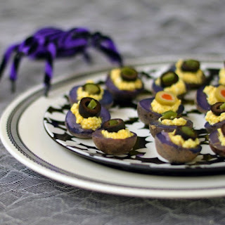 Vegan Deviled Purple Potatoes from The Ghoulish Gourmet by Kathy Hester