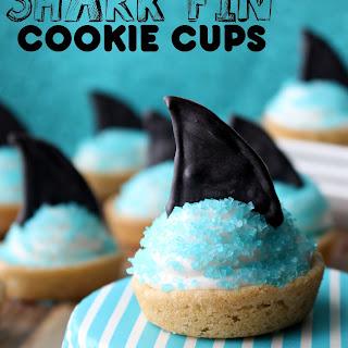 Marshmallow Fluff Shark Fin Cookie Cups