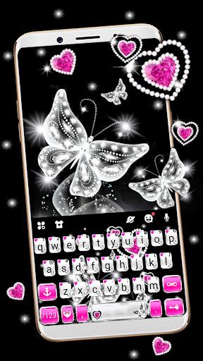 Diamond Butterfly Hearts Keyboard Theme ss1