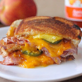 Ham, Peach & Jalapeno Grilled Cheese Sandwich.
