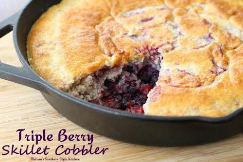"""Click Here for Recipe: Triple Berry Cobbler """"For this skillet cobbler, I..."""