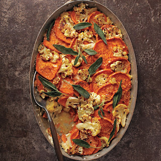Sweet Potato-Cauliflower Gratin with Crispy Sage Leaves