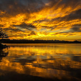 Mountain Island Lake by Roy Walter - Landscapes Sunsets & Sunrises ( water, nature, lake, sunrise, sun )