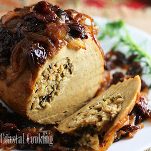 Roast Tofurkey with Balsamic Caramelized Onions and Dried Cherries