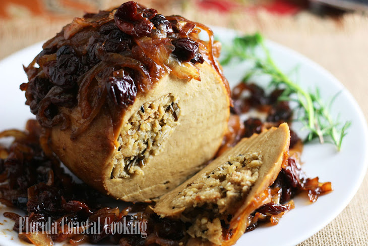 Roast Tofurkey with Balsamic Caramelized Onions and Dried Cherries Recipe