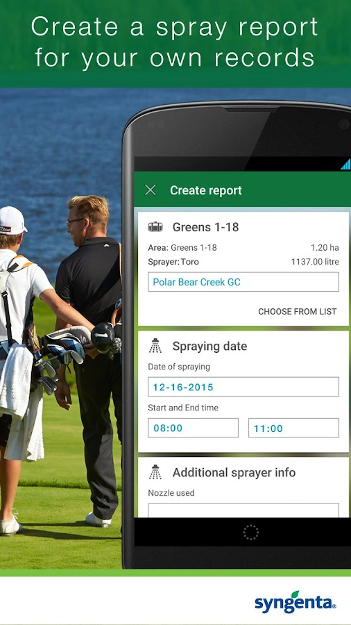 Syngenta GreenCast® Turf App- screenshot