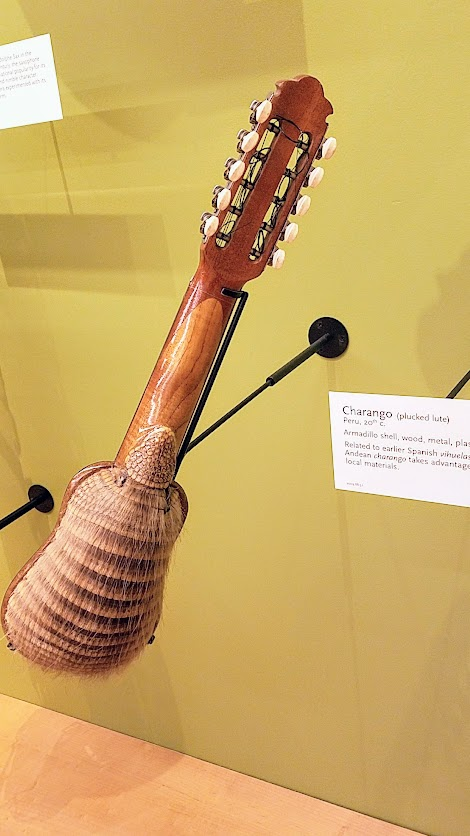 Music Instrument Museum (MIM) Geographic galleries, Charango, plucked lute from Peru; Armadillo shell, wood, metal, plastic