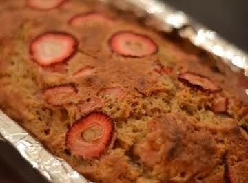 Strawberry Banana Loaf with Vanilla Glaze