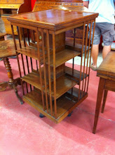 Photo: SOLD Code 3542. Rotating square bookcase 113cm high. circa 1912.  SOLD