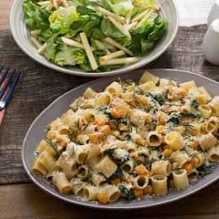 Butternut Squash & Kale Rigatoni with Crispy Rosemary & Butter Lettuce-Apple Salad.