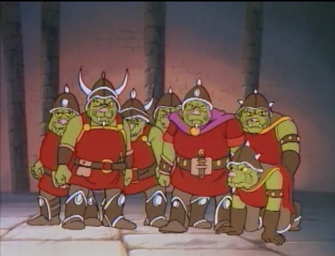 The party disguised as Orcs.