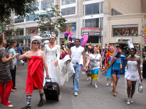 Photo: Finally walking to the gay pride march, Union Square West and East 14 Street, Gramercy, 26 June 2011. (Photograph by Elyaqim Mosheh Adam.)