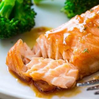 Garlic Honey Ginger Glazed Salmon with Broccoli.