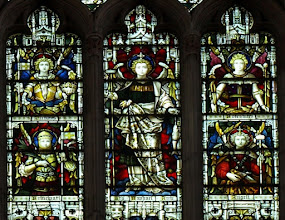 Photo: Detail 9 - Stained glass window West front Hereford Cathedral - 1902